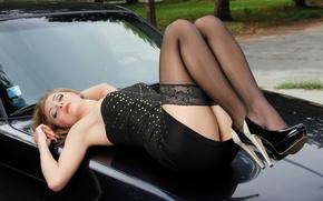 Picture girl, feet, linen, lingerie
