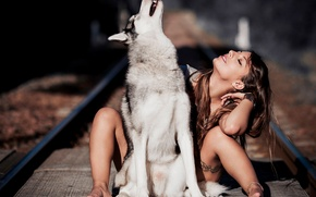 Picture girl, rails, wolf