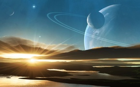 Picture water, the sun, sunrise, star, planet