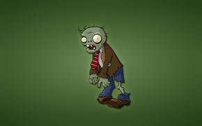 Wallpaper minimalism, zombies, green background, Plants vs. Zombies, red tie