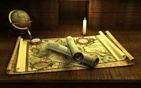 Picture romance, compass, candle, adventure, globe, old maps, manuscripts, treasure hunting