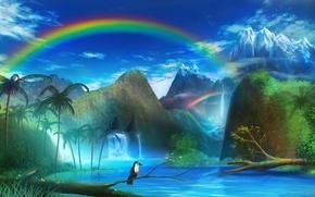 Picture landscape, mountains, river, palm trees, bird, rainbow, art, monorisu