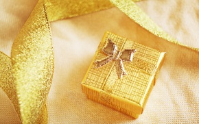Picture winter, holiday, box, gift, New Year, Christmas, tape, Christmas, New Year, box, gold