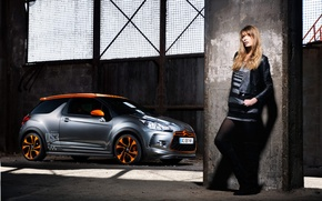 Wallpaper girl, racecar, Сitroen, DS3