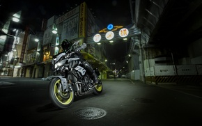 Picture dark, side, Yamaha, moto, japan, night, naked, 2016, MT-10