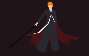 Picture sword, game, Bleach, anime, katana, boy, bankai, asian, Kurosaki Ichigo, manga, minimalism, japanese, orange hair, …