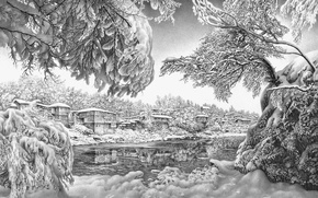 Picture winter, nature, art, pencil, black and white, GURAM