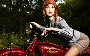 Picture girl, dreams, mood, model, blur, bike, beautiful, all, was, scout, Harley-Davidson, the appearance, Indian, Scout, …