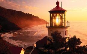 Wallpaper Sunset, Lighthouse, Oregon
