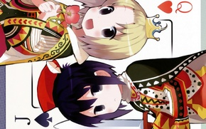 Picture flower, boy, crown, mantle, two, manga, playing cards, Q & J