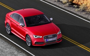 Picture Audi, Red, Auto, Audi, Machine, Asphalt, The hood, The view from the top