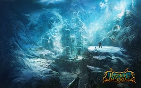 Picture snow, mountains, castle, ice, valley, battle, the wanderer, game wallpapers, immortal, Battle of the immortals