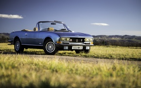 Picture road, grass, clouds, hills, convertible, blue sky, Peugeot 504