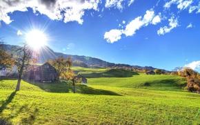 Picture autumn, the sun, landscape, heat