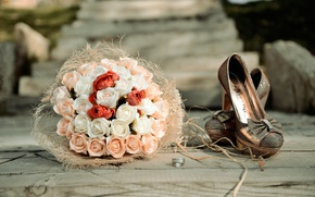 Picture flowers, roses, bouquet, ring, shoes, wedding