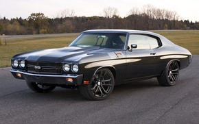 Picture Chevelle, Muscle car, 1970, road, black, the front, classic, Concept 2011, Performance, Sevil, Dale Earnhardt ...