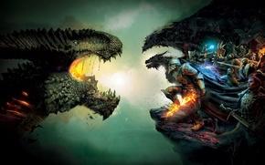 Wallpaper Dragon, Fire, Armor, Sword, Magic, Warrior, Weapons, BioWare, Electronic Arts, Dragon Age: Inquisition