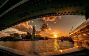Wallpaper the sun, sunset, bridge, river, London