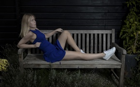Picture girl, dress, legs, bench, sneakers, Mathilde