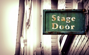 Picture wall, sign, bokeh, Liverpool, Theatre, Playhouse, Stage door of the Liverpool Playhouse Theatre