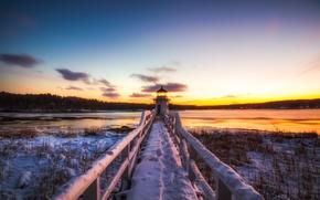 Wallpaper sunset, bridge, nature, Doubling Point Light