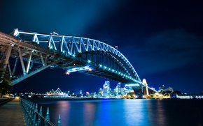Picture water, bridge, lights, home, Sydney