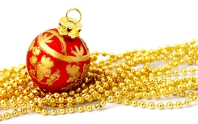 Wallpaper red, beads, holiday, Christmas decorations, Christmas, ball, new year, white background, new year, ball, gold, ...