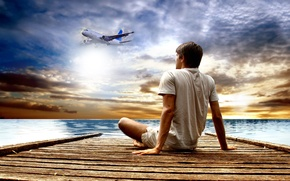 Picture sea, the sky, clouds, pier, guy, the plane