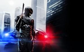Picture Action, Sci-Fi, Boy, Blue, Moto, Gun, Cyborg, Siren, Motorcycle, Red, 2014, Wallpaper, Cop, Thriller, Black, …