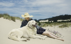 Picture hat, woman, dog, flowers, sand, wind, dune, sunny