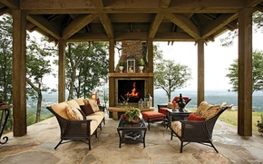 Picture sofa, interior, fireplace, gazebo, veranda
