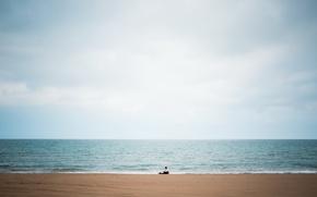 Picture beach, sky, big, blue, lake, alone, man, solitude