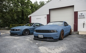 Picture Mustang, Ford, Road, beautiful, drives, two, blue, side