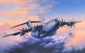 Picture aviation, art, the plane, military, Airbus, transport, A400M