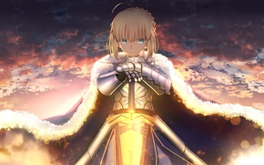 Picture girl, weapons, sword, armor, saber, fate stay night, anime, art