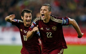 Wallpaper Team, football, Dzyuba, Artem Dzyuba, national team, Russia, Russia, football, joy, goal, Alan Dzagoev