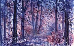 Picture forest, grass, trees, watercolor, the bushes, painted landscape