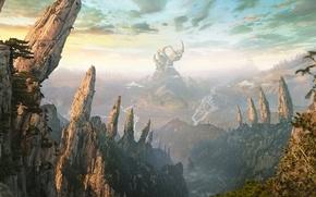 Picture landscape, rocks, graphics, desktopography, render