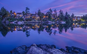 Picture trees, reflection, river, Marina, home, Canada, Canada, British Columbia, boats, British Columbia, Vancouver Island, Vancouver …