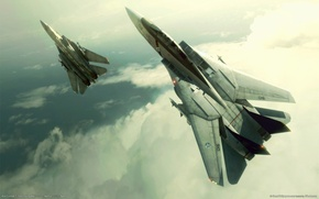 Wallpaper the plane, fighters, ace combat 5, clouds