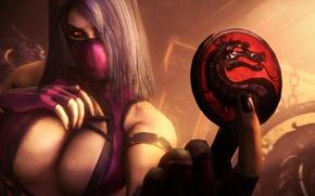 Picture girl, dragon, focus, art, badge, coin, Mortal Kombat, Mileena, Testing Your Sight