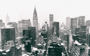 Picture USA, United States, Winter, Manhattan, NYC, Snow, New York City, Skyline, Chrysler Building, Black and …