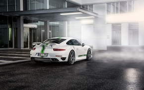 Picture Porsche, White, Turbo, Supercar, 991, 2014, TechArt, Rear