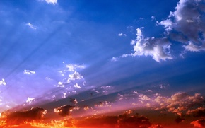 Wallpaper the sky, clouds, light, color