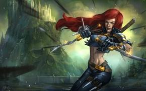 Picture girl, castle, art, daggers, League of Legends, Katarina
