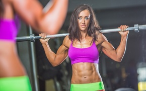 Picture reflection, mirror, workout, fitness, fitness model, abs, sportswear, bodybuilder, weight bar