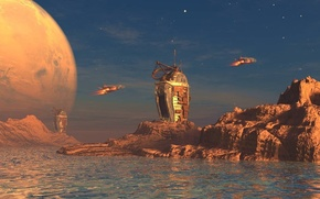 Picture world, sky, water, clouds, rocks, planet, spaceships, towers, derelict