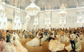 Picture people, picture, ball, the coronation, Michael Zichy
