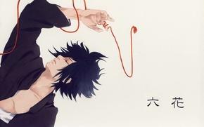 Picture hand, grey background, Naruto, red thread, ninja, closed eyes, Sasuke Uchiha, lying on her back, …