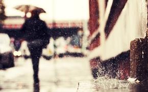 Picture drops, rain, street, silhouette, rain drops